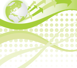 Green Globe with Wave Background Free Vector Design