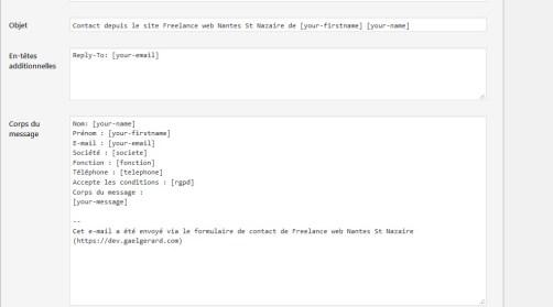 Aperçu du traitement d'email avancé dans le plugin Contact Form 7 pour WordPress