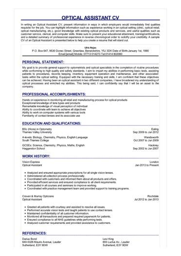 Optical Assistant CV  Great Sample Resume