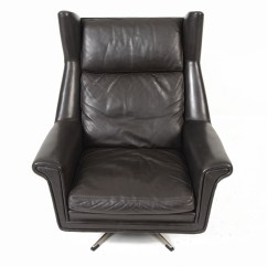 Black Leather Swivel Lounge Chair Ergonomic Recliner Danish Modern Highback