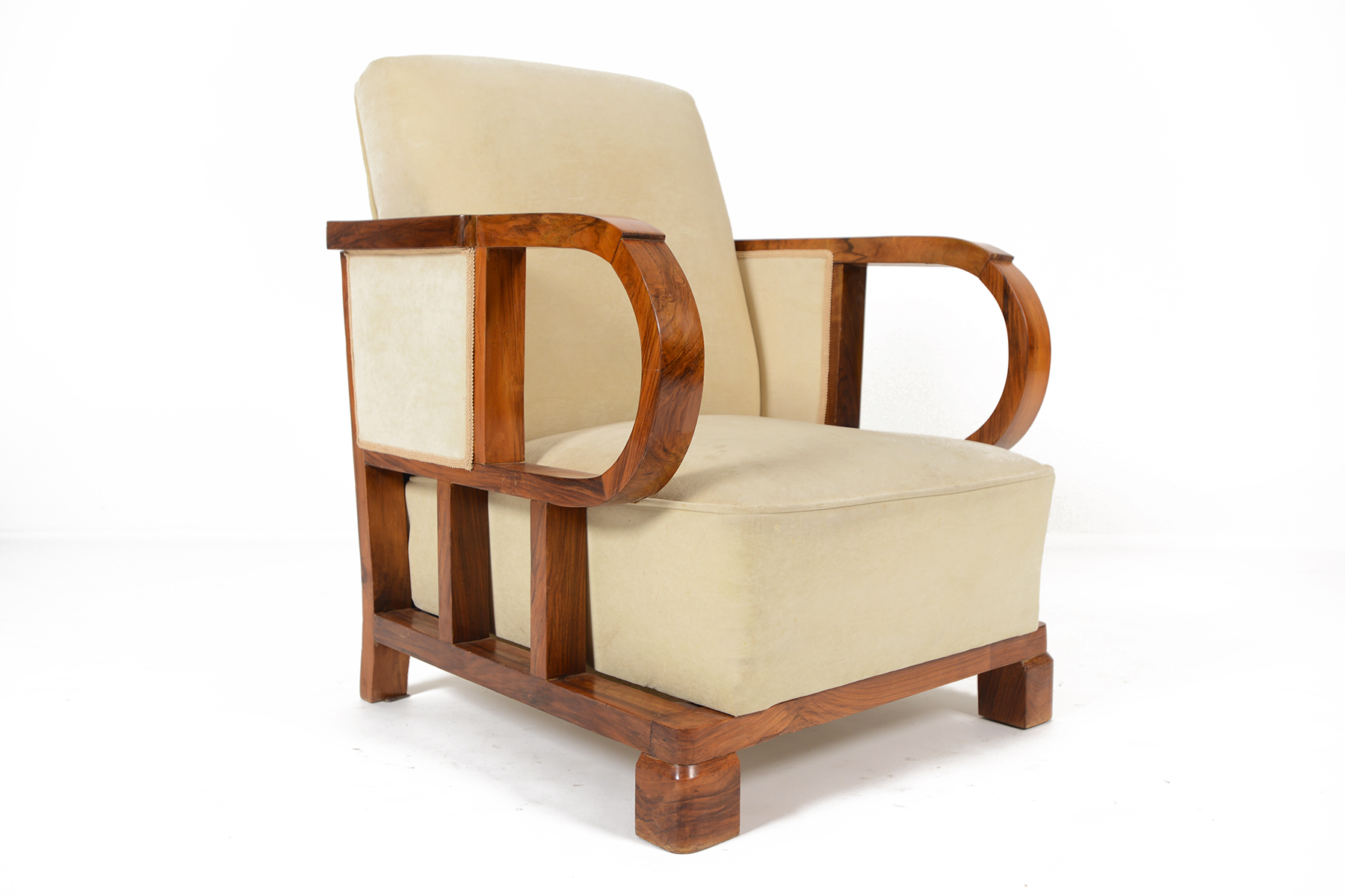 Eggshell Chair French Art Deco Walnut Club Chair In Eggshell Mid Century Mobler