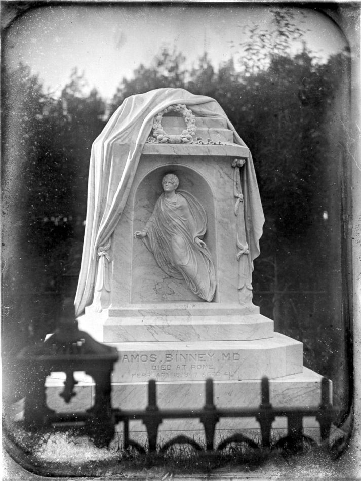 Amos Binney monumnet by Thomas Crawford, commissioned 1847, installed 1850.  Mount Auburn Cemetery, Lot 1391, Heath Path.Photograph of a Southworth and Hawes daguerreotype, c.1850.  Mount Auburn Cemetery Archives.