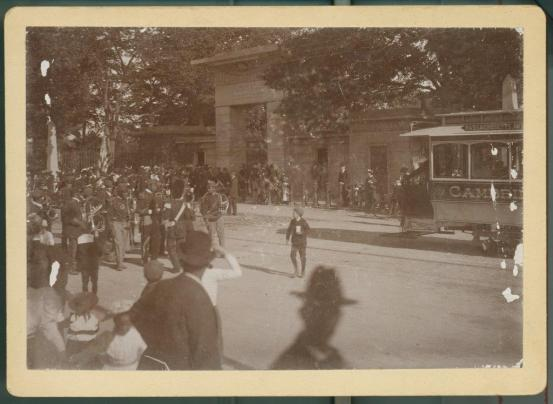 African American marching band at entrance to Mount Auburn Cabinet Card, c. 1880s