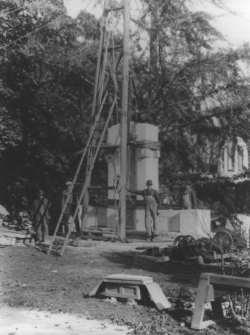 Construction of McCormick Monument, Lot 7350, c. 1920s, John F. Peterson, Lantern Slide.