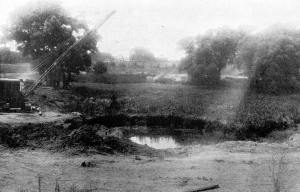 Construction of Willow Pond, c. 1935, gelatin silver print.