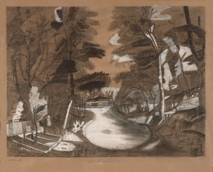 View of Forest Pond, by M. H. Chandler. Chalk, charcoal and graphite on paper, 1852.