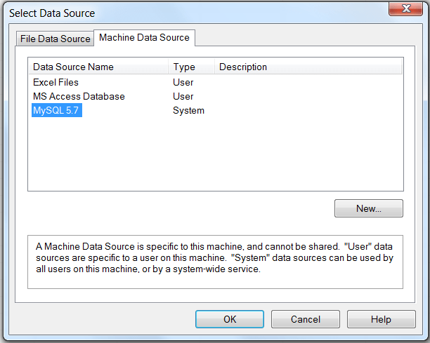 "Shows the Select Data Source dialog with two tabs: ""File Data Source"" and ""Machine Data Source."" The Machine Data Source tab is selected and displays three columns: Data Source Name, Type, Description. The selected row has ""MySQL 5.7"" defined as the Data Source Name, and ""System"" as the Type."