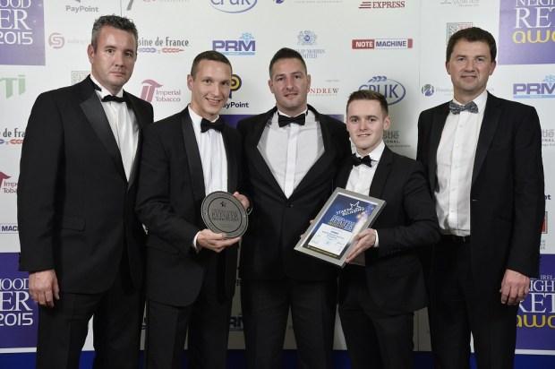 Mark Scally, Mantas Ambraziejus, from Applegreen M2 MSA; Darren Massey from sponsor Philip Morris; Gareth Bellew and Conor Lucey, Applegreen M2 MSA