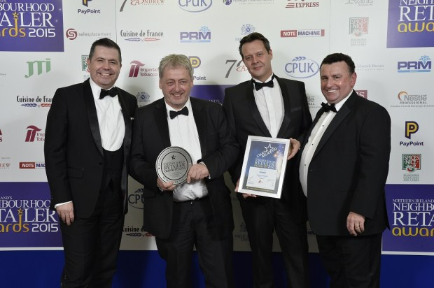 Glyn Roberts from NIIRTA, Tom McAvoy, David Atkinson from sponsor Imperial Tobacco, and Neighbourhood Retailer publisher Bill Penton