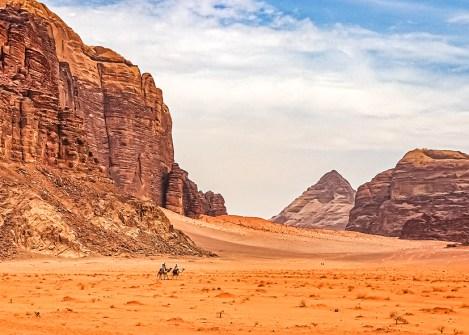 Dromadaires dans le désert du Wadi Rum, randonnée en Jordanie avec Nirvatravel