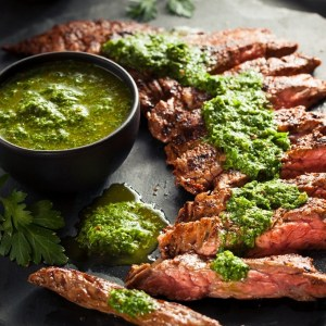 grilled Skirt Steak with Chimichurri Sauce and Spices