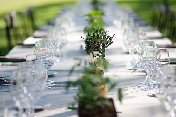 Dramatic photo of a set table with white linens, crystal and silverware in the St. Supéry vineyard