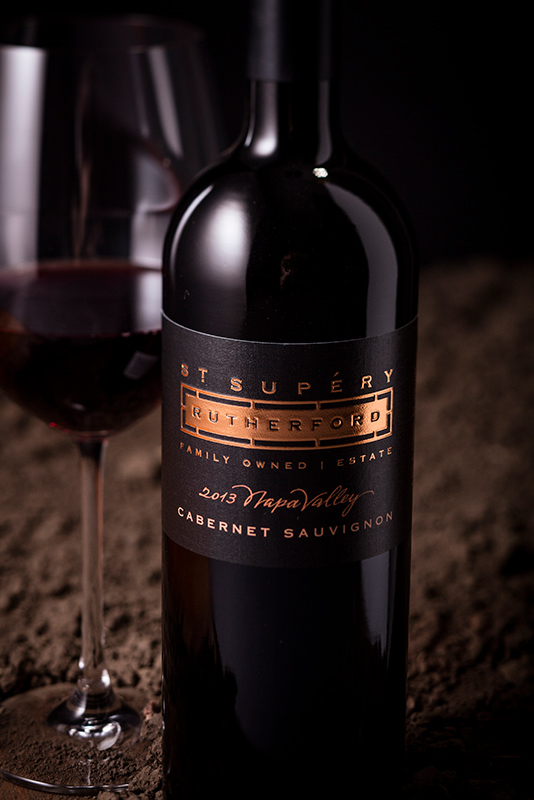 Closeup of St. Supéry 2013 Napa Valley Cabernet Sauvignon bottle
