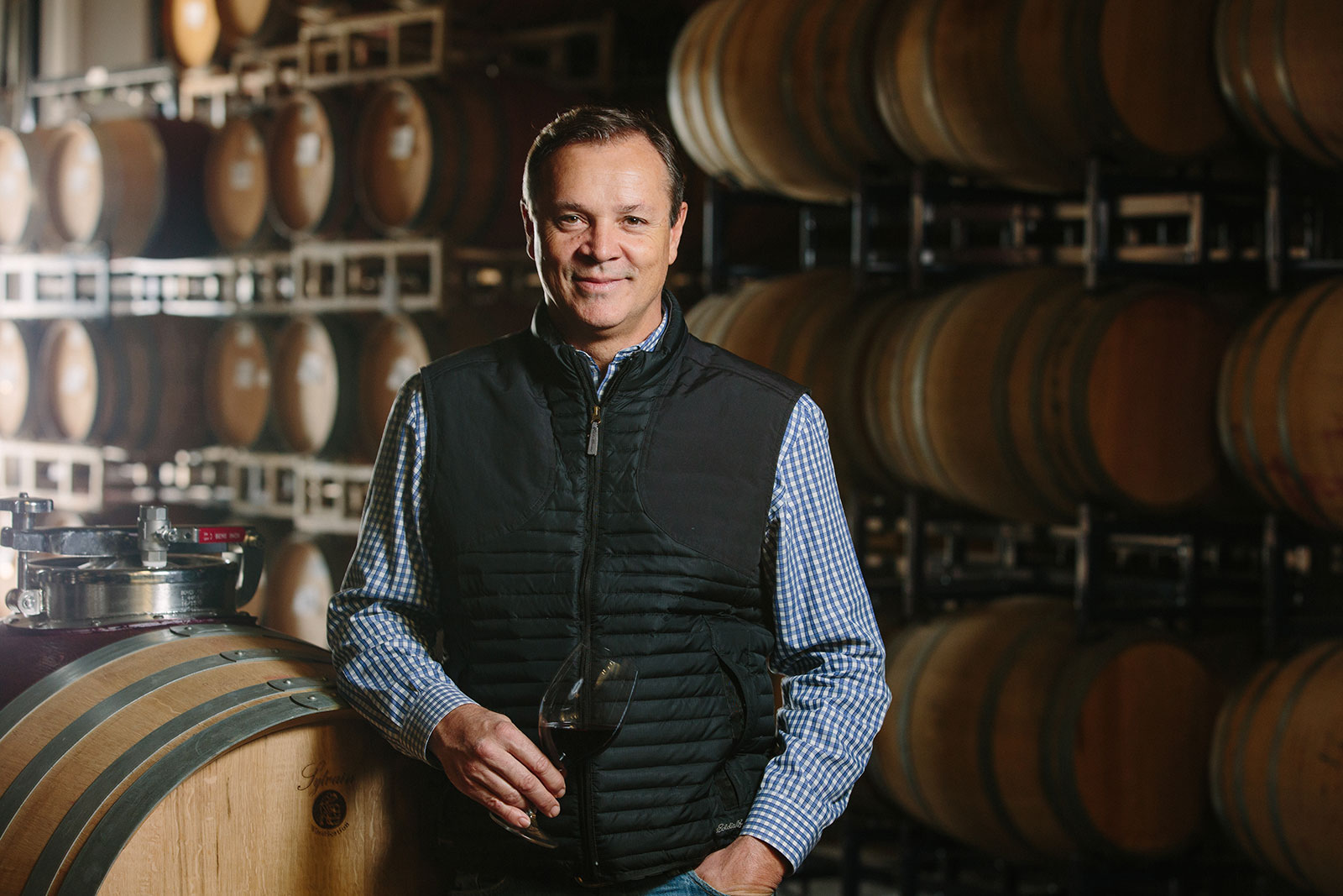 St. Supéry Vice President of Winemaking and Vineyards Michael Scholz in the Barrel Room