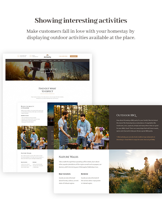 Ami Homestay Hotel Booking WordPress Theme - Interesting Activities Shown in One Page
