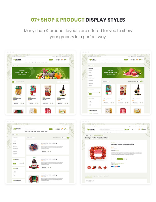 Efway Food Ecommerce WordPress Theme Shop Pages