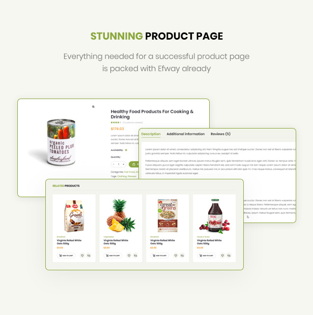 Efway Food Store WordPress Theme well-designed product pages