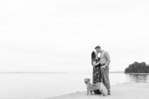 Couple with Dog on Dock