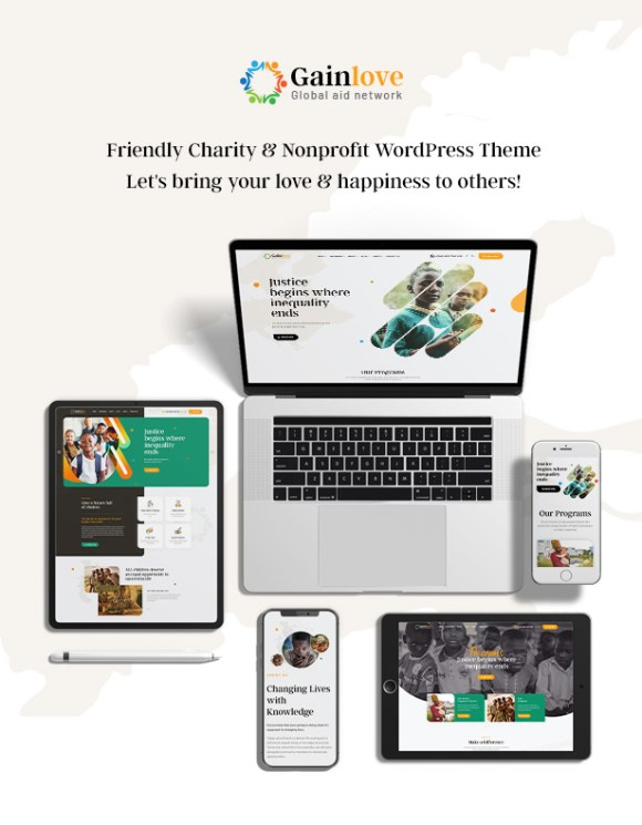 Gainlove Nonprofit WordPress Theme - banner