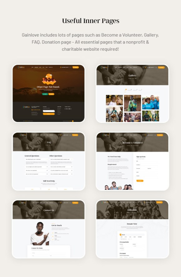 Gainlove Nonprofit WordPress Theme - Useful Inner Pages
