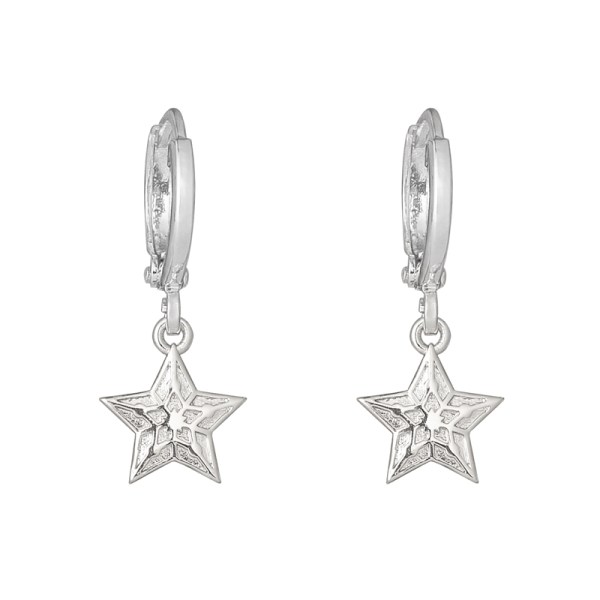 OORBELLEN SPARKLING STAR zilver.