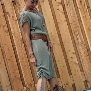 Off schouder leger groen gebreiden jurk/tuniek – one size.