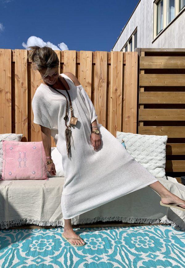 Gebreiden Off schouder oversized tuniek - Off White.