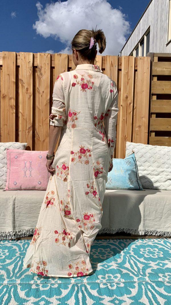 Sumitra Blouse/Jurk met bloemen en glitters -Off White kleur.