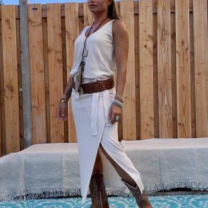 Gebreide wikkel rok met top -off white kleur.