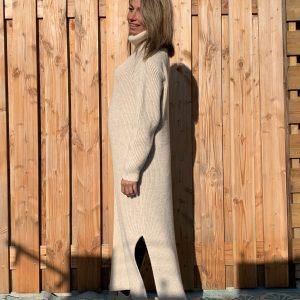 Ines Maxi gebreid coltrui Off White - one size.