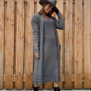 Sofia Maxi gebreiden donker grijs vest - one size.
