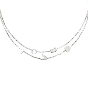 Ketting Love Stainless steel - Zilver kleur.