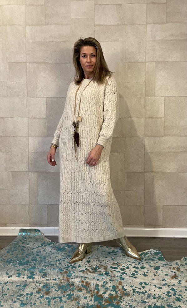 Valeria gehaakte maxi jurk off White - one size.