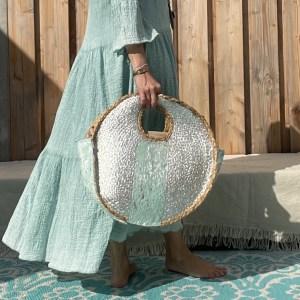 Olivia Riet tas met Turquoise kleur.