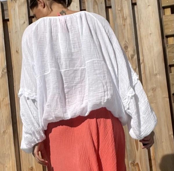 Celeste Katoen Blouse- one szie -witte kleur.