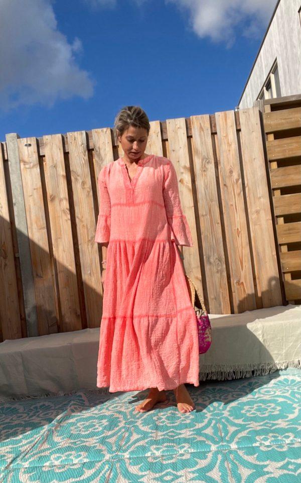 Adelina Maxi jurk - Coral kleur - one size.