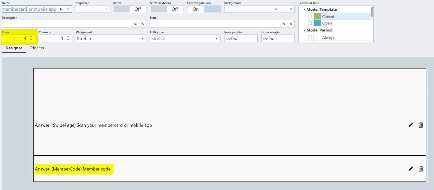 configuration to enter a member card code manually