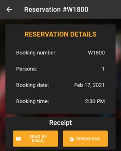 reservation details in mobile app