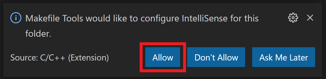 Image showing pop-up notification for allowing the Makefile Tools extension to configure IntelliSense