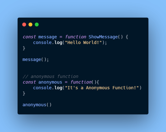Function Expression in javaScript