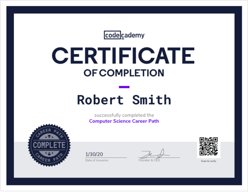 Is a Codecademy certificate recognized?