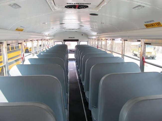Inside of a school bus