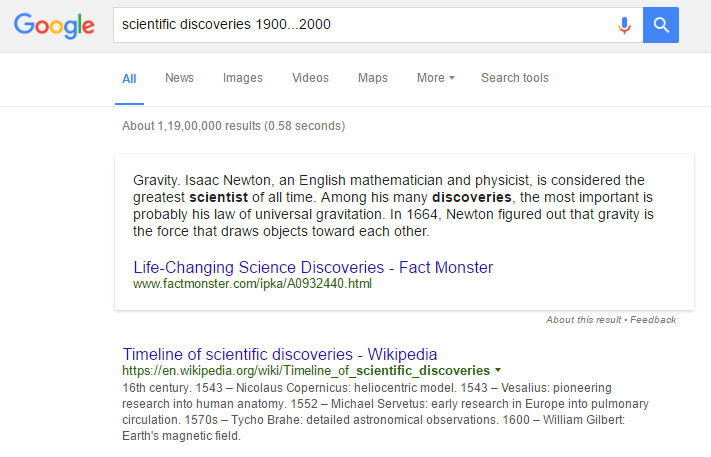 how to search google for scientific discoveries