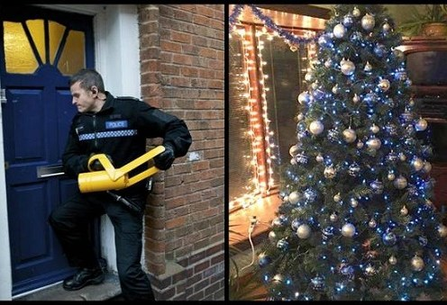 Police Officers find an amazing Christmas tree at a house when they respond to a call