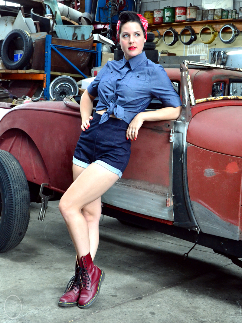 Velvet DeCollete in The Rosie Shirt and Pinup Shorts | Devel Women
