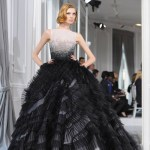 White and Black Ombre Tulle Floor Length Ruffled Full Skirt Dress with Crystal Detail on Bodice by Dior 2012