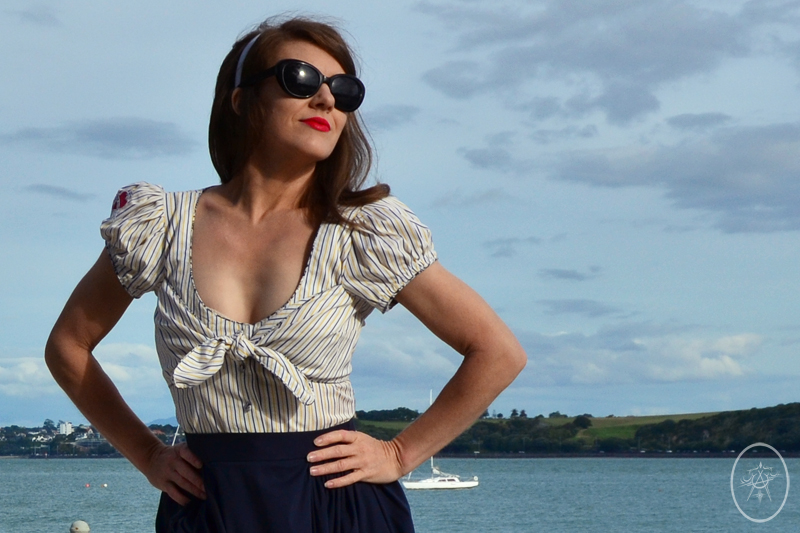 Lena Hoschek tie-front blouse with a navy gathered Sherry Skirt