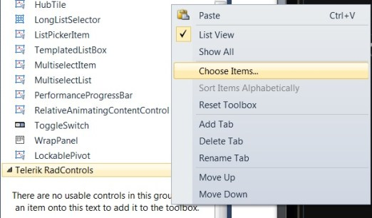 Telerik RadControls for Windows Phone – Article #2 - How to add controls to Visual Studio 2010 toolbox ?