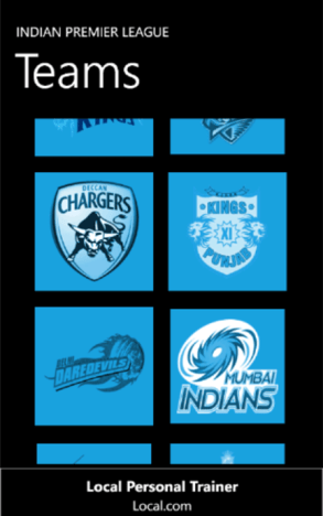 IPL 2012 App for Windows Phone