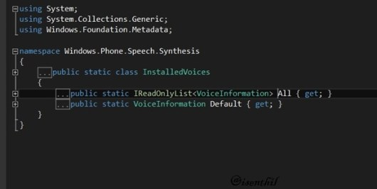 How to Get the Installed Voices in Windows Phone?